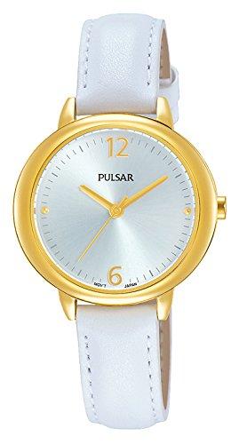 Pulsar Damen Analog Quarz Uhr mit Leder Armband PH8358X1