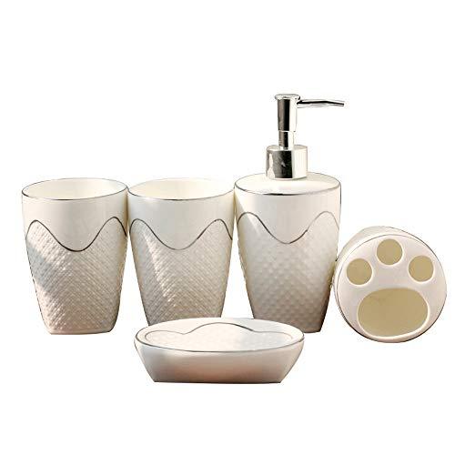 ASDZ 5 Keramik Bad Zubehör Set,Badezimmer Set Bad Set Bürstenhalter Seifenspender Bürstenhalter,luxuriöses Badezimmer Zubehör,Seifenspender,Seifenschale,Zahnputzbecher,Zahnbürstenhalter