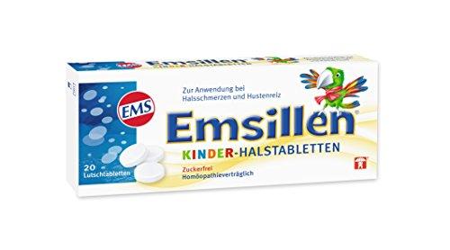 Emsillen Kinder Halstabletten mit Natürlichem Emser Salz – Bei Halsschmerzen und Hustenreiz – 20 Stück