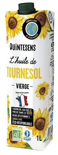 QUINTESENS - Huile de Tournesol du Gers Bio - Vierge - Emballage Éco-responsible - 1 L