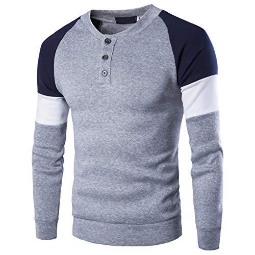 T-Shirt Herren T-Shirt Herren Frühling Und Herbst Mode Boutique Trend Büro Lässig Herren T-Shirt Einfache Schlanke Knopf Rundhals Herren Tops Gray. XXL