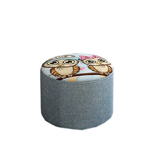 ZYLE Patrón de búho Taburete Asiento Perezoso Inicio Porche Dibujos Animados Cómoda Silla Corta Diseño extraíble y Lavable (Size : S)