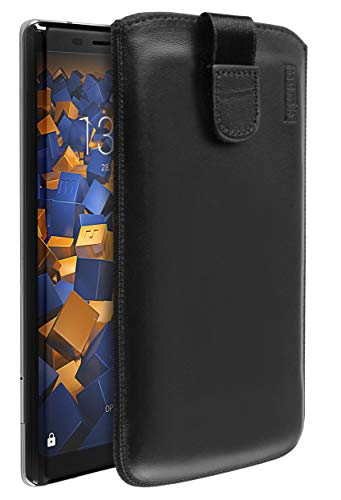 mumbi Echt Ledertasche kompatibel mit Nokia 8 Sirocco Hülle Leder Tasche Hülle Wallet, schwarz