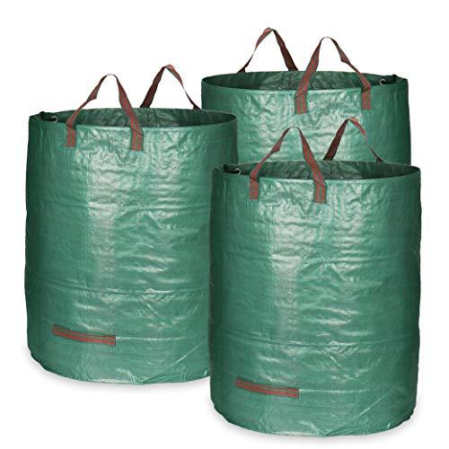 com-four® 3x Gartensack mit Tragegriffen - Faltbarer Gartenabfallsack L - Reißfeste Falttonne für Laub und Grünschnitt (272 l - 3 Stück)