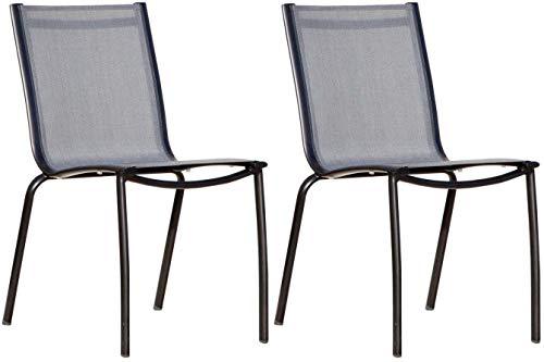 Proloisirs Chaise Linea en Aluminium Black Brush et Textilène Argent (par 2)