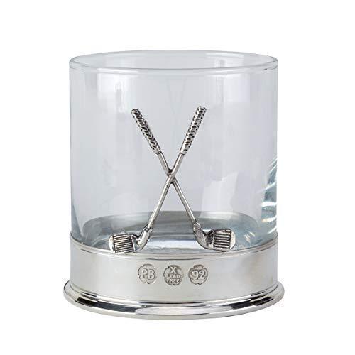 Zeer hoge kwaliteit loodvrije tinnen gemonteerd 12oz Golf Whisky Glass Tumbler met een paar gekruiste golfclubs in een Presentatie doos van 1 of 2 glazen