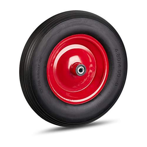 Relaxdays Schubkarrenrad 4.80 4.00-8, Vollgummirad & Stahlfelge, 3 Adapter, Ersatzrad pannensicher, 100 kg, schwarz-rot