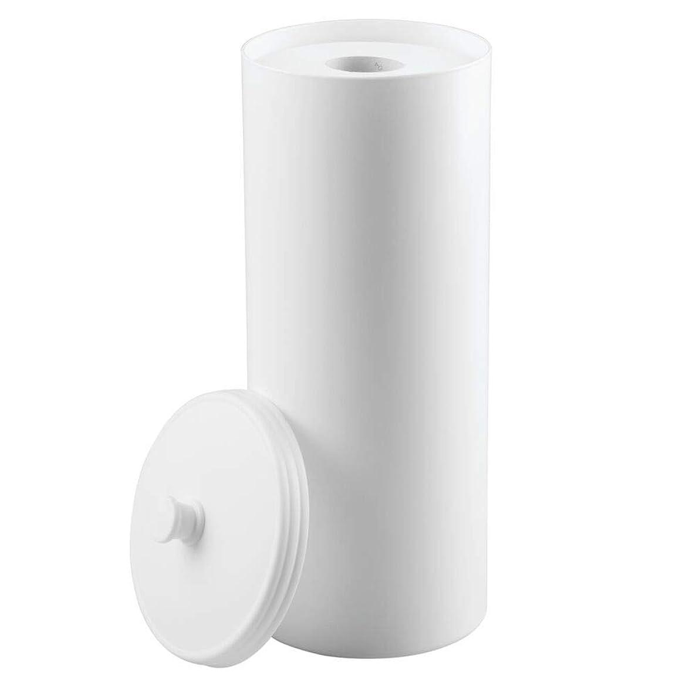mDesign Plastic Free Standing Toilet Paper Holder Canister - Storage for 3 Extra Rolls of Toilet Tissue - for Bathroom/Powder Room - Holds Mega Rolls - White