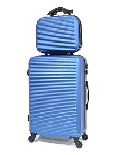 Valise Cabine/Moyen/Grande avec ou sans Vanity, Marque Française (Bleu - 5859, Moyen & Vanity)