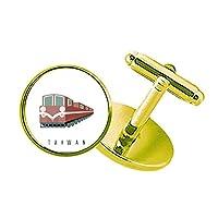 台湾列車旅行 スタッズビジネスシャツメタルカフリンクスゴールド