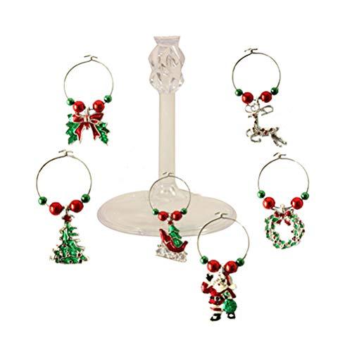 6 colgantes de cristal de Navidad para copas de vino, etiquetas para bebidas, marcadores unisex