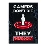 GREAT ART® Gaming Póster Negro Rojo - Gamer don't Die - Respawn Game Over Consola de videojuegos Motivación Neon Decoración interiores Fotomural (Din A2 42 x 59,4 cm)