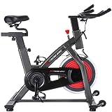 Yunobi Bicicleta estática para interiores con mango ajustable de 4 vías, asiento, volante de 13 kg y pantalla LCD, bicicleta giratoria para ejercicio cardiovascular para entrenamiento en casa