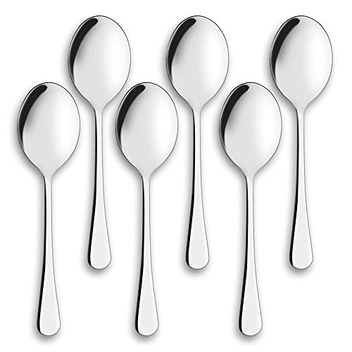 GAKIN 6 Pcs 10 Inches Spoons Stainless Steel Salad Spoon Large Tablespoons For Dinner