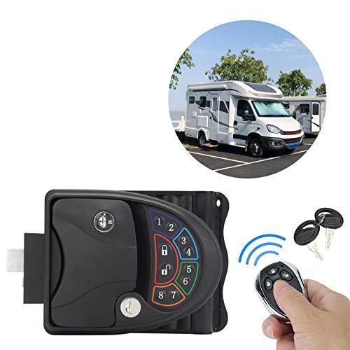OPL5 RV keyless Entry Door Lock Handle Latch with Deadbolt, 20M Remote Controller, Zinc Alloy Keyless RV Door Keypad & Fob for Travel Trailer Camper Bus Yacht Truck