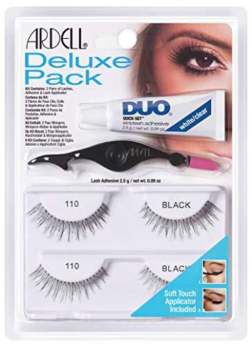 ARDELL Deluxe Pack, 2x Paar Echthaarwimpern mit Duo Wimpernkleber und Easy Applikator zum Anbringen der künstlichen Wimpern, das Original für perfekte Lashes, 2.5g (Style 110)