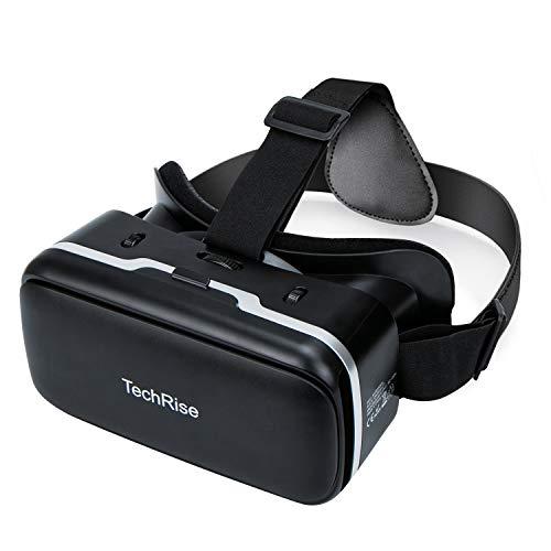 TechRise 3D VR auriculares, 3D VR anteojos Caja de realidad virtual con lente ajustable para películas y juegos 3D, compatible con iPhone Samsung y otros smartphones de 3,5 pulgadas a 6 pulgadas