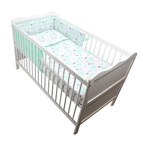 TupTam Baby Bettwäsche mit Nestchen Gemustert 3-Teilig, Farbe: Wolken Mint, Anzahl der Teile:: 3 TLG. Set