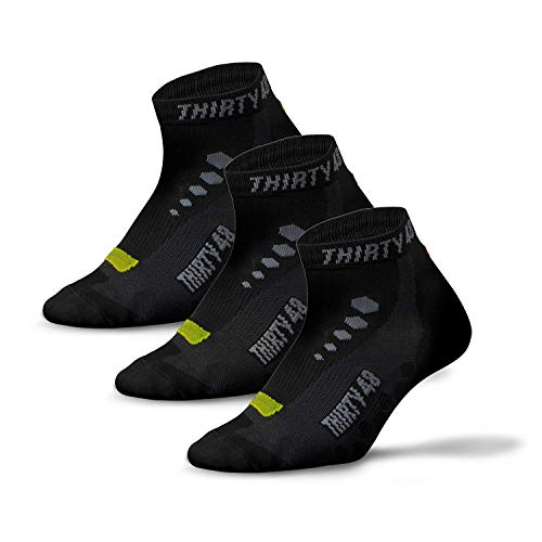 Thirty48 Low Cut Cycling Socks for Men and Women   Unisex Breathable Sport Socks (Large - Women 9-12 // Men 8-11, [3 Pairs] Black/Green)