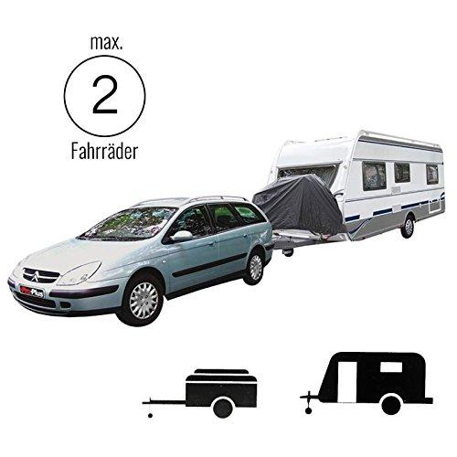 ProPlus Fahrradschutzhülle Deichsel XL für 2 Fahrräder, (BxHxT) 103 x125 x 187 cm, Nylon, schwarz für Anhänger oder Wohnwagen