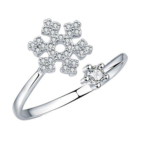Scrox Anillo de diamantes regalo de temperamento anillo de copo de nieve...