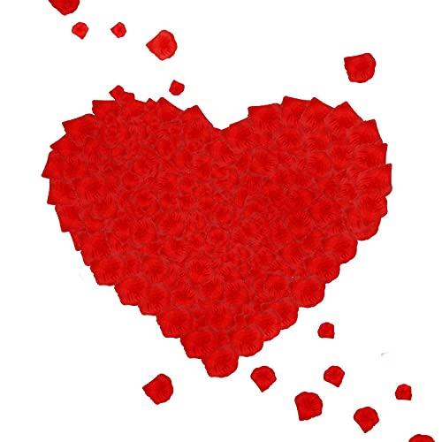 1000 pétalos de rosa rojos, pétalos de flores de seda artificiales, pétalos de rosa falsos, decoración romántica para bodas, fiestas de cumpleaños, propuesta de matrimonio (rojo) (1000 unidades)