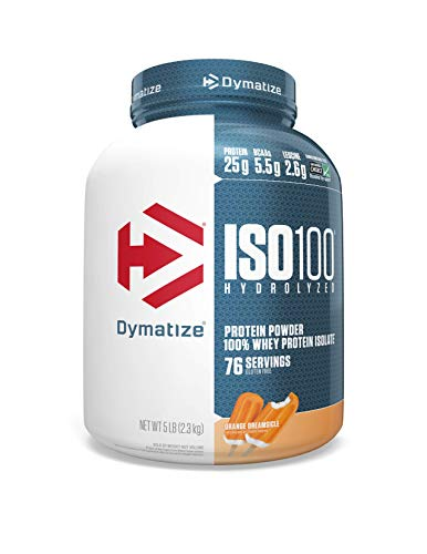 Dymatize ISO100 Hydrolyzed Protein Powder, 100% Whey Isolate Protein, 25g of Protein, 5.5g BCAAs,...