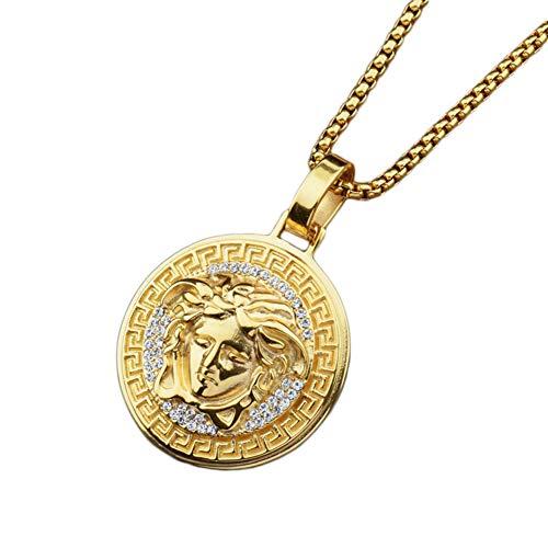 YuanChuang Mode Medusa Anhänger Golden Farbe Legierung Anhänger Halskette für Männer und Frauen Halsketten (1 Pc) (Golden)
