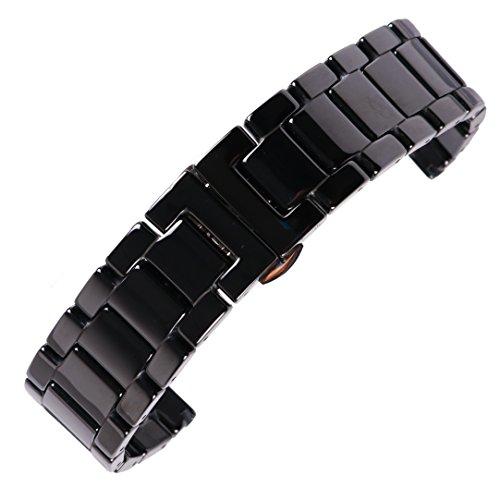 22mm di alta qualità neri pieni cinturini per orologi in ceramica collegamento braccialetti di vigilanza di sgancio rapido per orologio da uomo casual