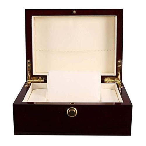 XZJJZ Caja de Reloj mecánico Reloj de Acero de Dos Relojes de Gama Alta de los Hombres de Mujeres de la Caja de Pulsera - Caja de Reloj de Madera