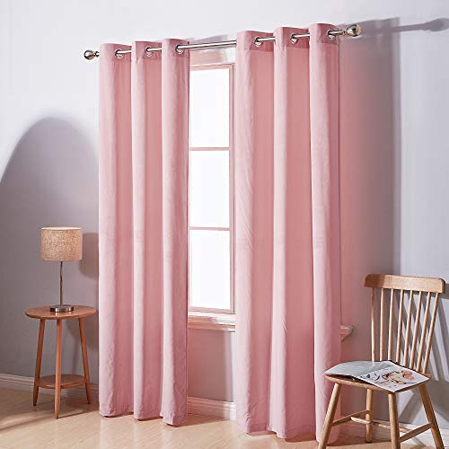 Deconovo Decorative 95 Inch Velvet Curtains Solid Soft Sunlight Block Insulated Noise Reducing Baby Pink Curtain for Nursery 2 Panels 42W x 95 L Inch