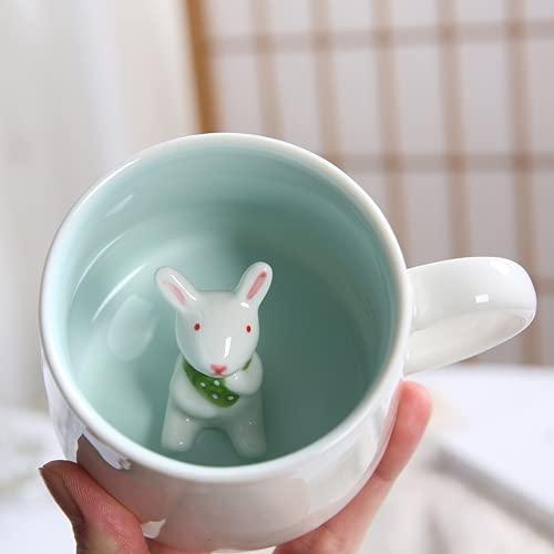 Arawat Lustige Tasse Kaffeetasse Keramik Teetasse mit Löffel & Untersetzer 375 ml Groß 3D Kaffeebecher Witzige Tasse Espressotassen Kaffee Tasse Cappuccinotasse Geschenk (Hase)