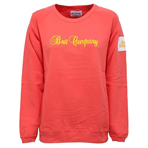 BEST COMPANY 0504AB Felpa Donna RED Coral Cotton Crew Neck Sweatshirt [M]