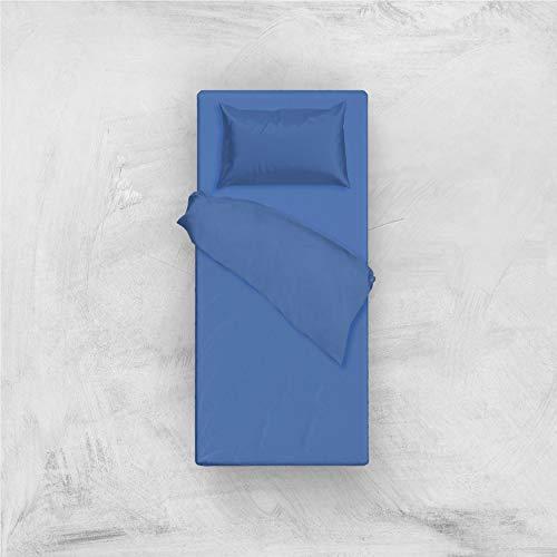 L'ANTICO ARCOLAIO Set Completo Letto Lenzuola 100% Cotone Tinta Unita (Blu Royal, Singolo 1P)