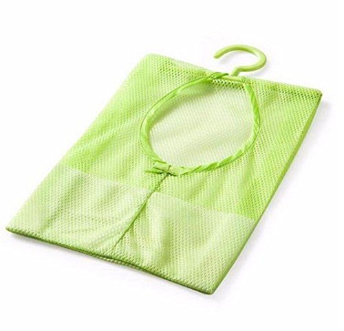 Hunpta de salle de bain Crochets de sac de rangement en maille Pinces à linge à suspendre Organiseur de sac de douche de bain NEUF, Green, 25 * 33