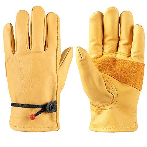 ZMYY 1 par de guantes de trabajo para hombres y mujeres Guantes de cuero ajustables ligeros y duraderos, perfectos para mecánicos, embalaje, almacén de jardinería (M)