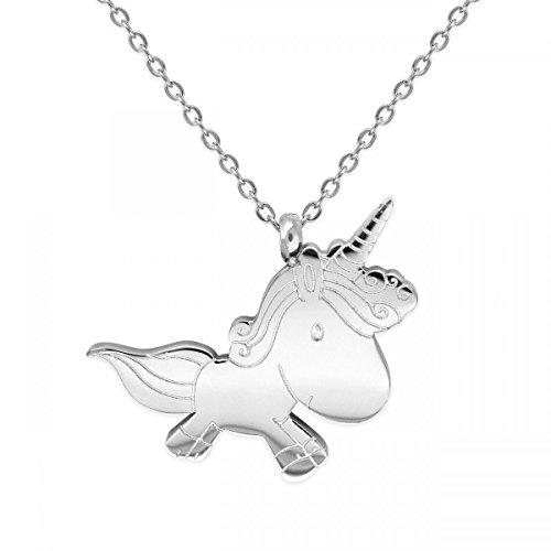 Soul-Cats® Einhorn Anhänger mit Kette aus Edelstahl in Silber