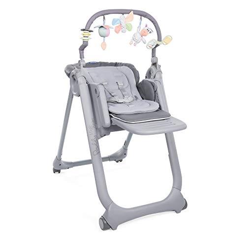 Chicco Polly Magic Relax Chaise Haute Évolutive et Pliable pour Bébé à 4 Roues, Enfants de la Naissance à 3 ans (15 kg), Inclinable en Transat, avec Coussin Réducteur et Barre de Jeux - graphite
