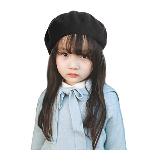 Bonaweite French Wool Berets Hat Classic Fashion Warm Beanie Cap for Girls Black