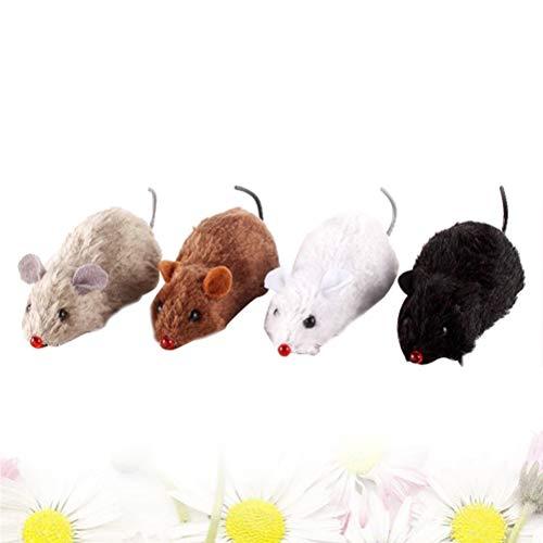 STOBOK Wind up Mäuse Uhrwerk Tier Spielzeug realistisch Aussehende Mäuse Lernspielzeug für Kinder - 4pcs (zufällige Farbe)