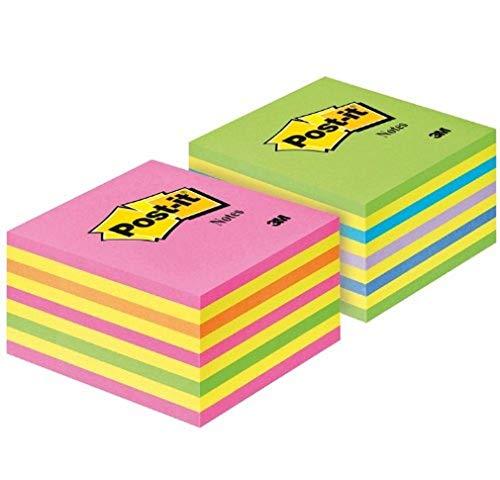 Post-it 2028NX2 - Notas adhesivas (76 x 76 mm, 2 blocs de 450 hojas), colores rosa y verde