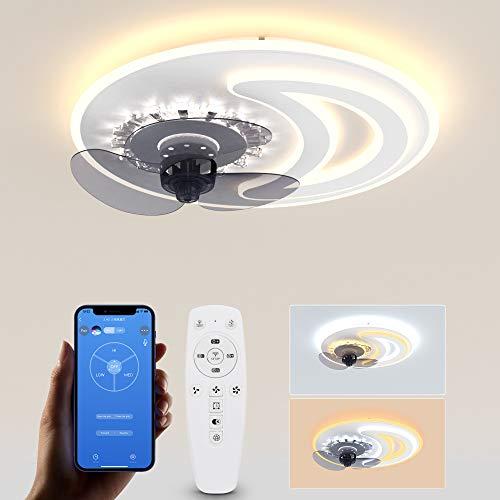 Wayrank Led Deckenleuchte mit Ventilator, LED Deckenventilator mit Beleuchtung und 3 Farbe, Moderne Dekoration LED Deckenlampe Fan mit APP-Steuerung und Fernbedienung für Schlafzimmer