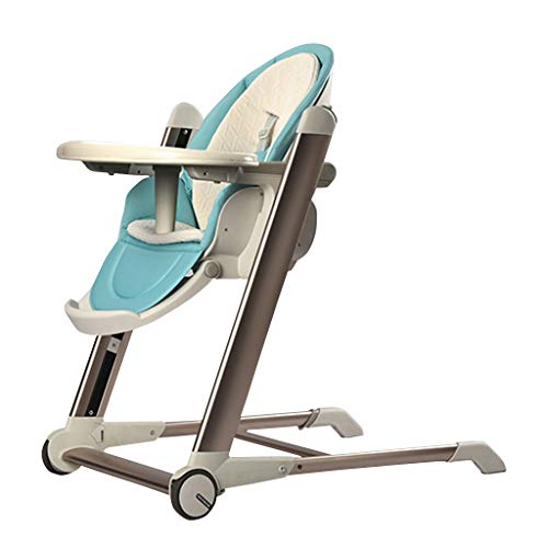 Opvouwbare Draagbare kinderstoelen voor Babys Baby Hoge Stoel - Ultra-Luxe Baby Eetstoel Ei Type - met 2 Wheel Seat Belt Double Tray - Baby Helper kan worden omgezet in een Junior Stoel (Blauw Roze) Blauw