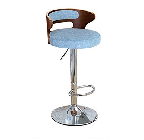 Ali@ Chaise élégante pivotante Chaise de bar chaise de bar Chaise de montée Tabouret de bar Chaise de dossier en bois massif Chaises de réception Tabouret haut (Couleur : Bleu)