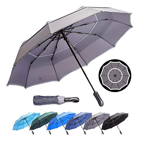 HOSA Auto Open Close Compact Portable Lightweight Travel | Night Safety Reflective Strip | Windproof Waterproof UV Protection Umbrella | for Raining Sunny Days Night Time Use (Dark Gray 46-inch)
