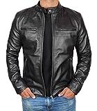 Blingsoul Cafe Racer Slim Fit Men Leather Jacket Black Disc | [1100126] Dodge Black, 2XL