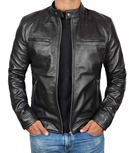 Blingsoul Mens Leather Jacket Black Biker Outfit | [1100124] Dodge - L