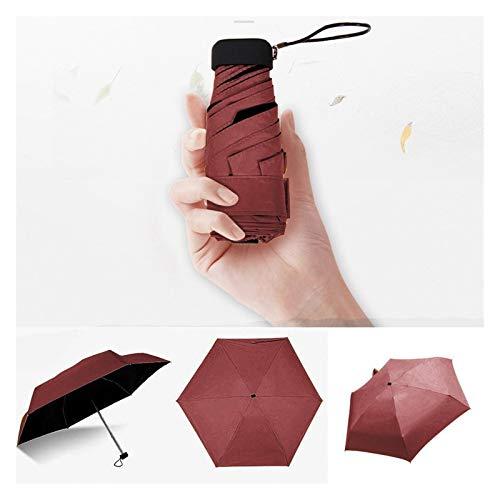 YSJJAXR Paraguas Paraguas Plana Ligera Fresca pequeña Parasol Plegable Paraguas de Sun Mini Paraguas no automático Unisex Paraguas (Color : Red)