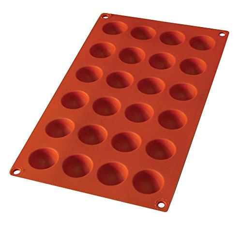 Pure Vie® 24er Silikon Backform/Muffinform für Muffins, Brownies, Cupcakes, Kuchen, Pudding, Eiswürfel und Gelee - Halbe Kugel
