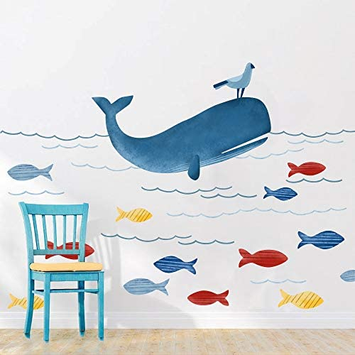 Underwater Animals Wall Sticker Whale Ocean DIY Wall Decal Blue Marine Life Wall Stickers for product image